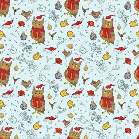 seamless pattern Christmas new year color and contour illustrations childrens Doodle layout for design owl in Santa Claus hat among gifts and Christmas balls