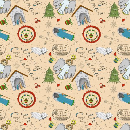 Orthodox Christmas color and contour illustration seamless pattern baby Doodle layout for design infant Magi barn sheep bow angel toys balls background