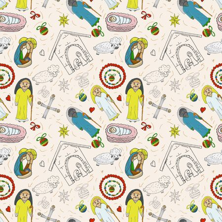 Orthodox Christmas color and contour illustration seamless pattern baby Doodle layout for design infant cross star Magi barn sheep bow angel toys balls background