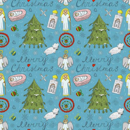 Orthodox Christmas color and contour illustration seamless pattern baby Doodle layout for design infant cross star Magi barn tree spruce sheep bow angel toys balls background