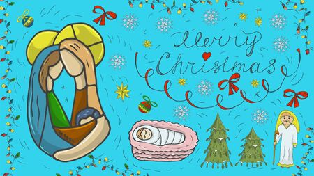 Orthodox outline color banner for Christmas for design decoration in the style of childrens Doodle Joseph and Mary Jesus in the crib Magus snowflakes toys calligraphic inscription Çizim