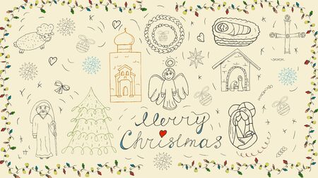 Orthodox Christmas new year outline icon set for decoration design festive illustrations in the style of childrens Doodle background