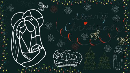 Orthodox outline banner for Christmas for design decoration in the style of childrens Doodle Joseph and Mary Jesus in the crib Magus snowflakes toys calligraphic inscription  イラスト・ベクター素材