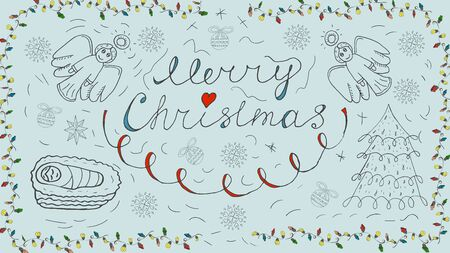 Orthodox contour banner in Christmas design in the style of childrens scribbles two angels calligraphic the inscription baby Jesus snowflake balls