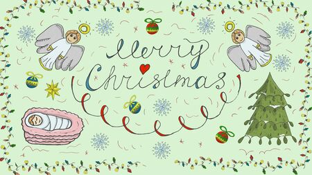Orthodox contour color banner in Christmas design in the style of childrens scribbles two angels kalligrafichnoy the inscription baby Jesus snowflake balls