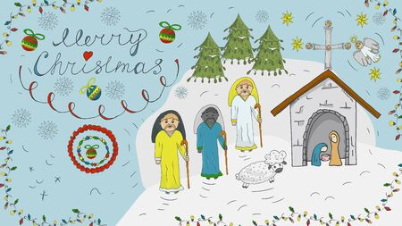 Orthodox contour color banner in Christmas design in the style of childrens scribbles three wise men coming to the stable where Jesus was born the background