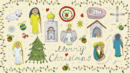 Orthodox Christmas new year color outline icon set for decoration design festive illustrations in the style of childrens Doodle background