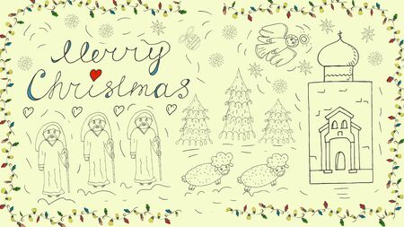 Orthodox outline banner for Christmas for design decoration in the style of childrens Doodle Magi go to the temple sheep run snowflakes toys calligraphic inscription