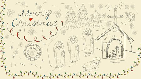 Orthodox contour banner in Christmas design in the style of childrens scribbles three wise men coming to the stable where Jesus was born the background