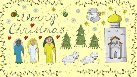 Orthodox outline color banner for Christmas for design decoration in the style of childrens Doodle Magi go to the temple sheep run snowflakes toys calligraphic inscription