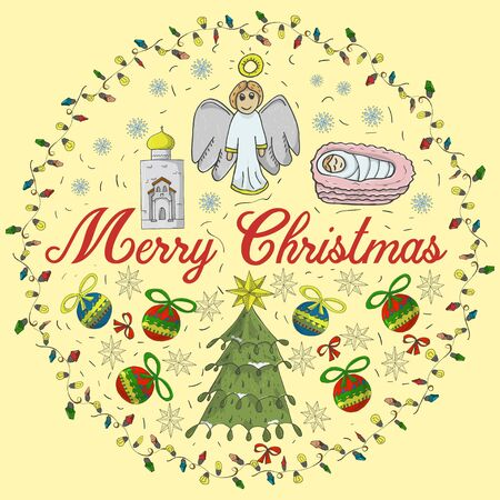 Orthodox Christmas banner in a circle of garlands with the inscription congratulations in the style of childrens Doodle baby tree among the balls angel baby painted snowflake background
