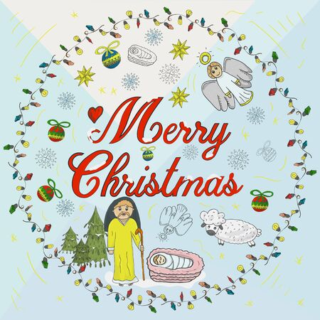 Orthodox Christmas banner in a circle of garlands with the inscription congratulations in the style of childrens Doodle baby in the cradle and next to the Magi decorated with toys and snowflakes back