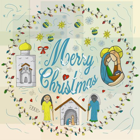 Orthodox Christmas banner in a circle of garlands with the inscription congratulations in the style of childrens Doodle baby in the barn Church temple and near the Magi urasheno snowflake background