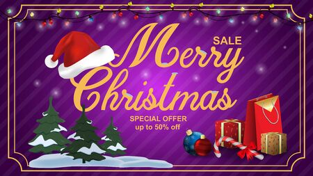 Special offer Christmas sale discount up to fifty percent purple banner discount among the trees in the snow and Santa Claus hat gifts