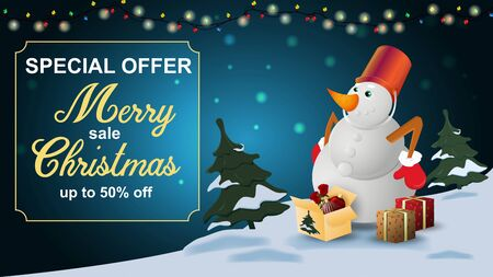 Special offer Christmas sale discount up to fifty percent dark blue banner discount with garland snowman with gift boxes frame  イラスト・ベクター素材