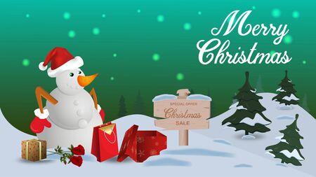 Special offer Christmas sale discount up to fifty percent green banner discount snowman in Santa Claus hat stands among the gifts in winter  イラスト・ベクター素材
