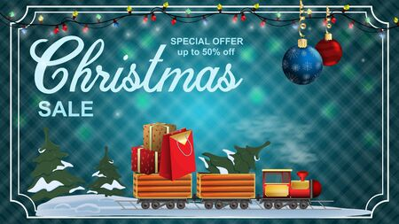 Special offer Christmas sale discount up to fifty percent of the blue banner with the discount toy train carrying gifts and a tree