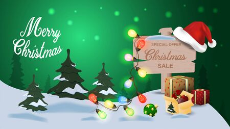Special offer Christmas sale up to fifty percent off discount green banner with garland wooden signpost and gifts
