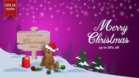 Special offer Christmas sale up to fifty percent off pink discount banner with garland bear in Santa hat sits next to wooden signpost