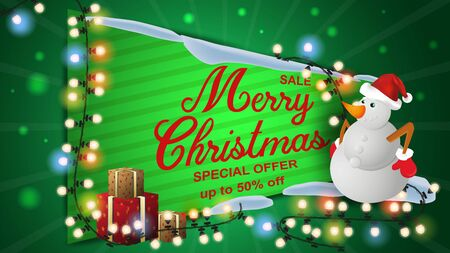 Special offer Christmas sale discount up to fifty percent dark green banner discount snowman and gift boxes and colorful light bulbs garland