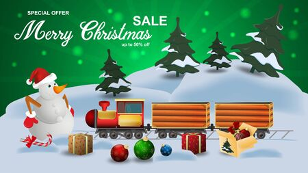 Special offer Christmas sale discount up to fifty percent off dark green banner with discount on delivery carries gifts to the snowman on the background of snow and trees