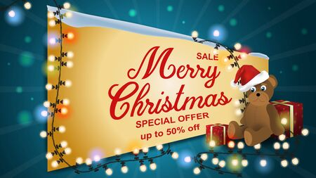 Special offer Christmas sale up to fifty percent off dark blue discount banner with garland Teddy bear sitting among gift boxes and garlands