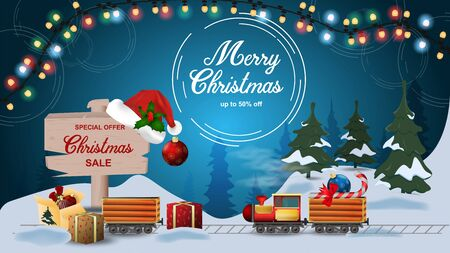 Special offer Christmas sale discount up to fifty percent dark blue banner with discount train carries candy and toy in the snow wooden sign with the inscription