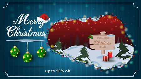 Special offer Christmas sale up to fifty percent off dark blue discount banner with garland wooden sign with gifts inscription congratulations and Santa hat
