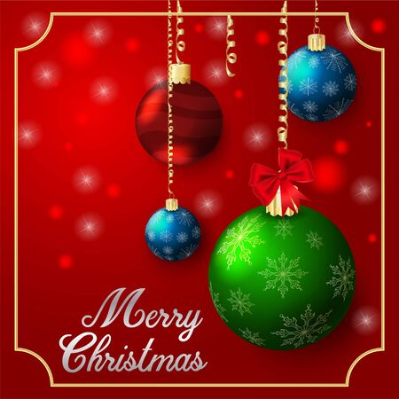 background Christmas decorations for Christmas and new year holidays in the form of four glass balls glass balls in a frame on a dark red background inscription congratulations  イラスト・ベクター素材