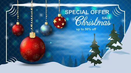 Special offer Christmas sale discount up to fifty percent dark-blue banner with the discount toy balls in a frame on the background of winter scenery snow trees