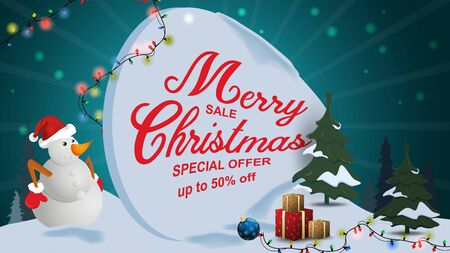Special offer Christmas sale discount up to fifty percent dark blue banner discount with garland snowman in the snow among the trees with boxes gift frame
