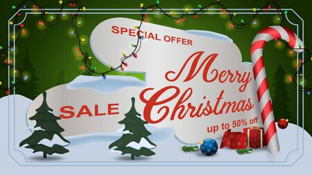 Special offer Christmas sale discount up to fifty percent dark green banner discount with garland framed gifts candy trees in snow drifts  イラスト・ベクター素材