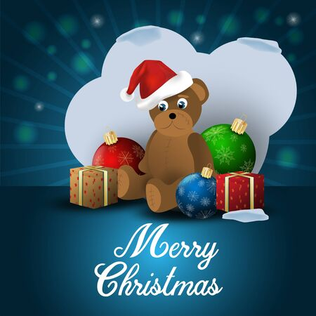 Christmas background dark blue small bear in Santa Claus hat sitting among toys balls and gifts greeting inscription
