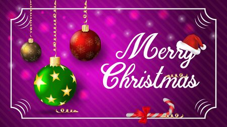 Christmas new year holiday dark purple banner with toys balls inscription greeting and Santa hat in frame