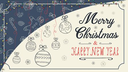 banner Christmas new year outline sketches for decoration design style children Doodle toys balls hanging on the left on the threads with a congratulatory inscription in the center vector