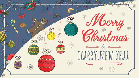 banner Christmas new year outline color sketches for decoration design style children Doodle toys balls hanging on the left on the threads with a congratulatory inscription in the center vector