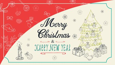 banner Christmas new year outline sketches for decoration postcard design background style kids Doodle greeting lettering tree spruce with gifts and balls toys vector