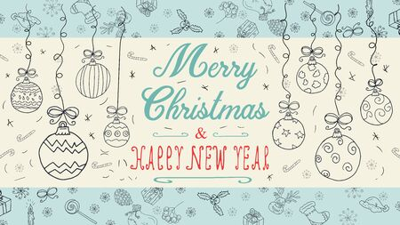 banner Christmas new year outline sketches for decoration design style children Doodle toys balls hanging left and right on the thread with a congratulatory inscription in the center vector  イラスト・ベクター素材