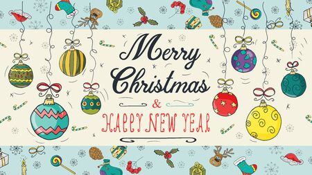 banner Christmas new year outline color sketches for decoration design style children Doodle toys balls hanging left and right on the thread with a congratulatory inscription in the center vector  イラスト・ベクター素材