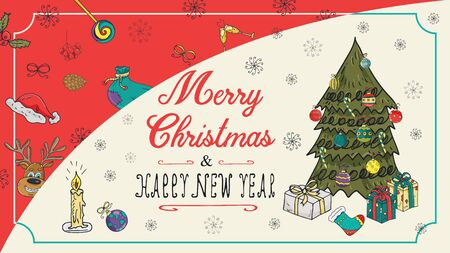 banner Christmas new year outline color sketches for decoration postcard design background style kids Doodle greeting lettering tree spruce with gifts and balls toys vector