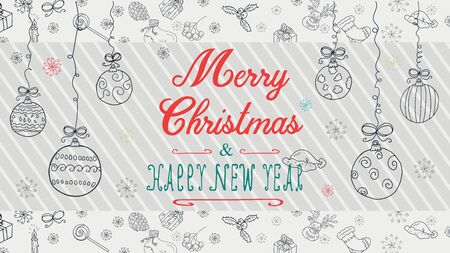 banner Christmas new year outline sketches for decoration design style children Doodle toys balls hanging on strings with a congratulatory inscription in the center vector  イラスト・ベクター素材