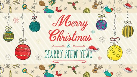 banner Christmas new year outline color sketches for decoration design style children Doodle toys balls hanging on strings with a congratulatory inscription in the center vector  イラスト・ベクター素材