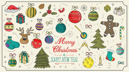 large set Christmas new year contour color sketches icons for design decoration holiday illustration style children Doodle toys gifts balls snowflakes background isolated vector
