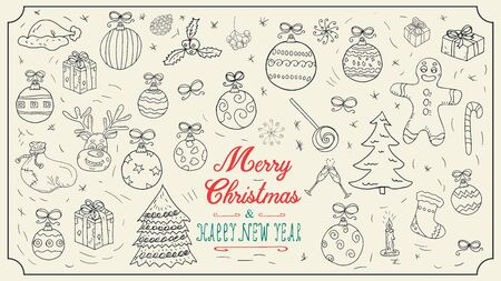 large set Christmas new year contour sketches icons for design decoration holiday illustration style children Doodle toys gifts balls snowflakes background isolated vector