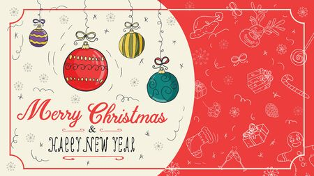 banner Christmas new 1 year outline color sketches for decoration postcard design background style children Doodle greeting inscription divided into two halves balls toys vector