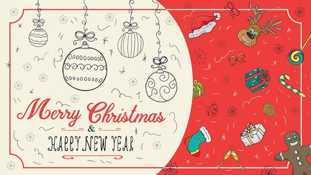 banner Christmas new year outline color sketches for decoration postcard design background style children Doodle greeting inscription divided into two halves balls toys vector