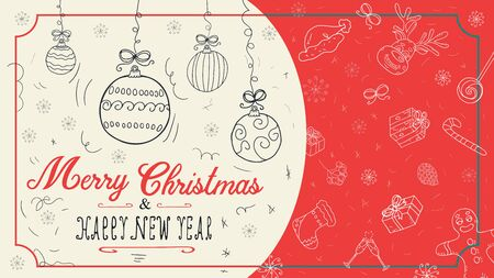 banner Christmas new year outline sketches for decoration postcard design background style children Doodle greeting inscription divided into two halves balls toys vector