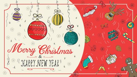 banner Christmas new 1 year outline color sketches for decoration postcard design background style children Doodle greeting inscription divided into two halves balls toys vector  イラスト・ベクター素材
