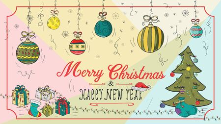 banner Christmas new year outline color sketches for decoration postcard design background style kids Doodle greeting lettering garlands gift boxes and tree spruce framed vector