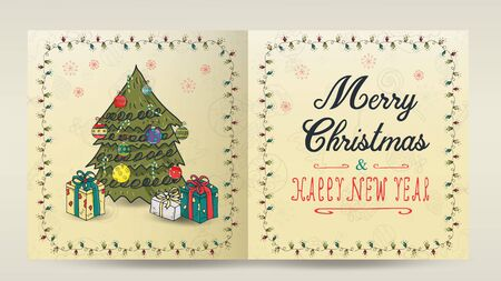 layout of Christmas and new year cards for decoration print design in the style of childrens Doodle in a frame of garlands divided into two halves with a congratulatory inscription larger tree gifts  イラスト・ベクター素材